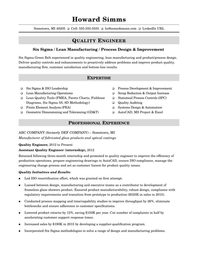 sample resume for midlevel quality engineer monster smt active examples marketing duties Resume Resume Listing Crossword