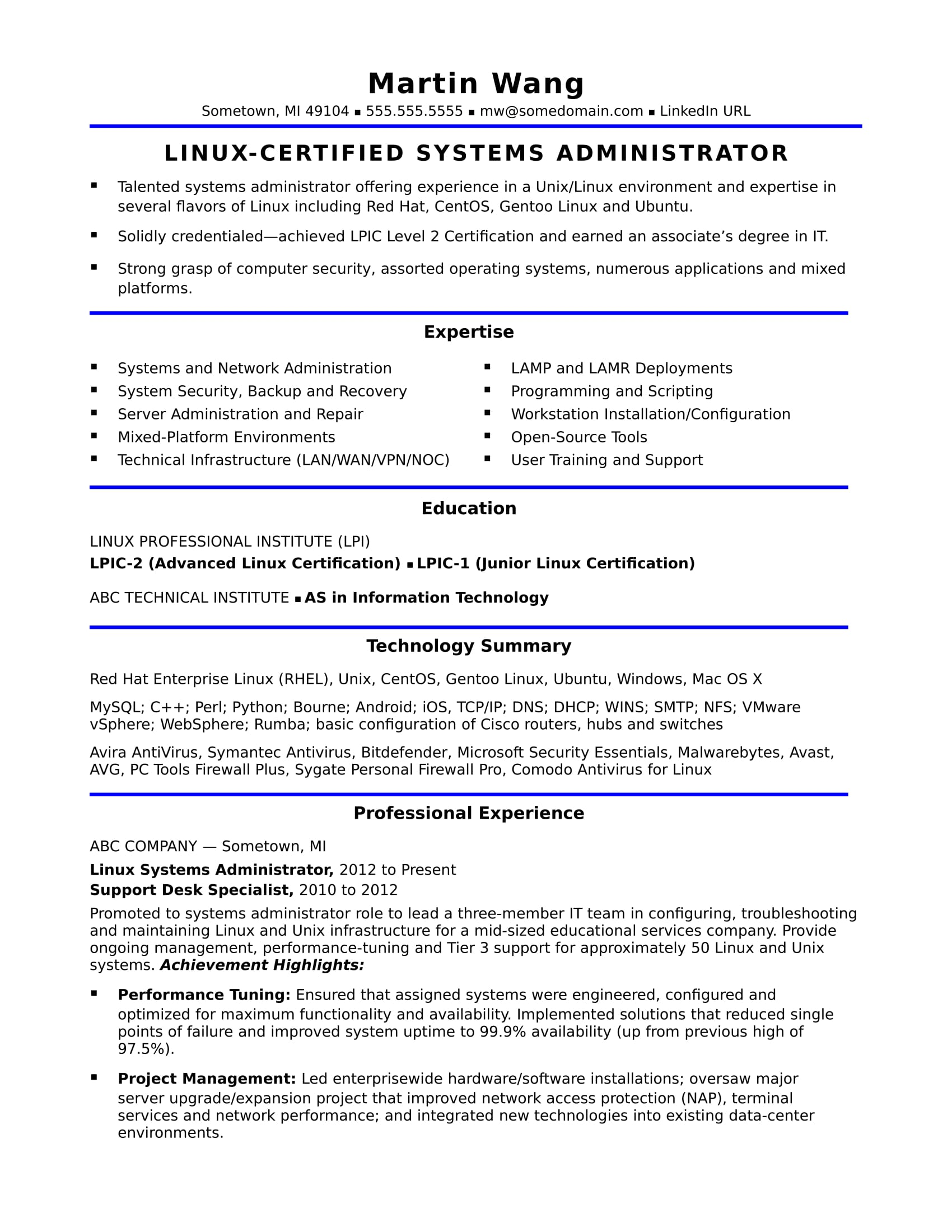 sample resume for midlevel systems administrator monster linux free layout creating good Resume Linux Administrator Resume