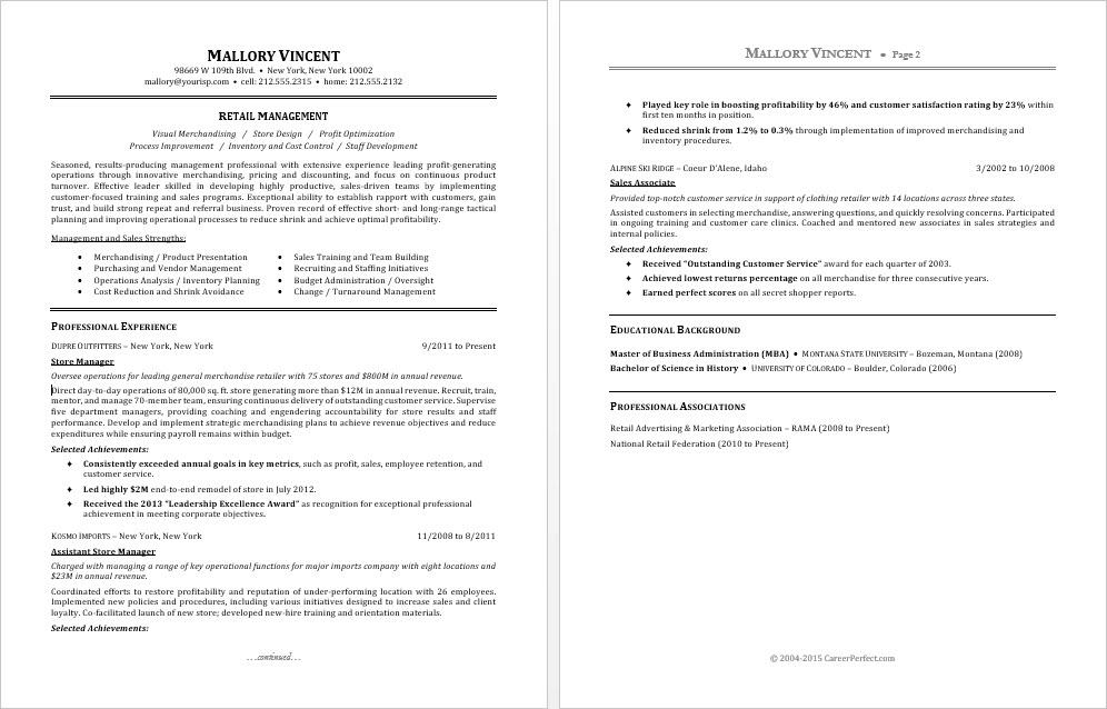 sample resume for retail manager monster numbers on example progressive care nurse Resume Page Numbers On Resume Example