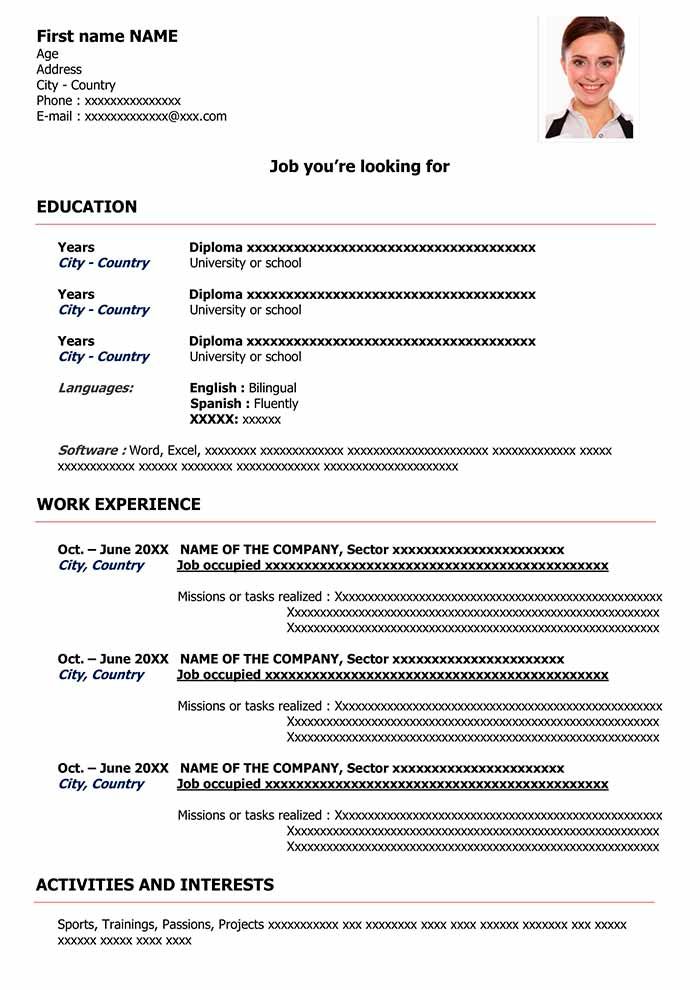 sample resume format for free cv word templates and examples classic red commercial pilot Resume Resume Format And Examples