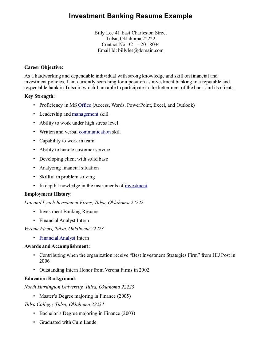 sample resume objective for government job smart format in word section of examples basic Resume Banking Resume Objective