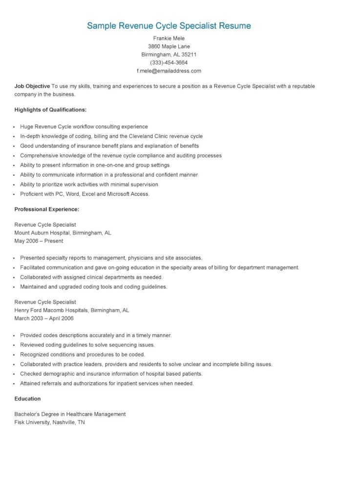 sample revenue cycle specialist resume director basic template word work experience free Resume Broad Experience Resume