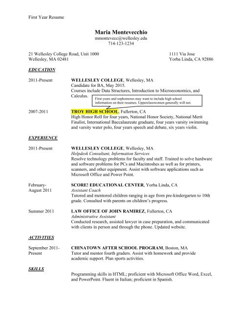 sample student resumes wellesley college first year resume microsoft word free templates Resume First Year College Student Resume