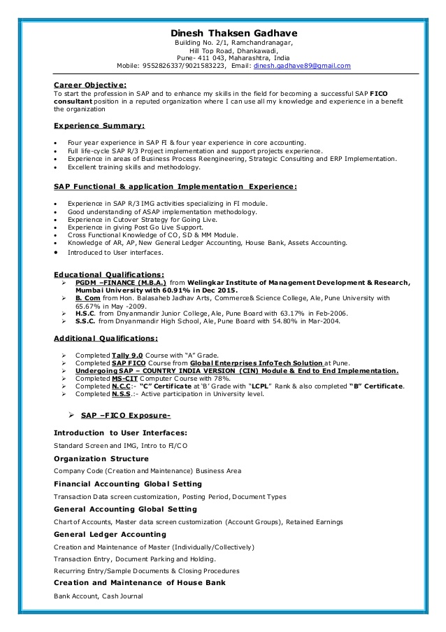 sap fico resume consultant years experience pca medical records objective examples Resume Sap Fico Consultant Resume 3 Years Experience