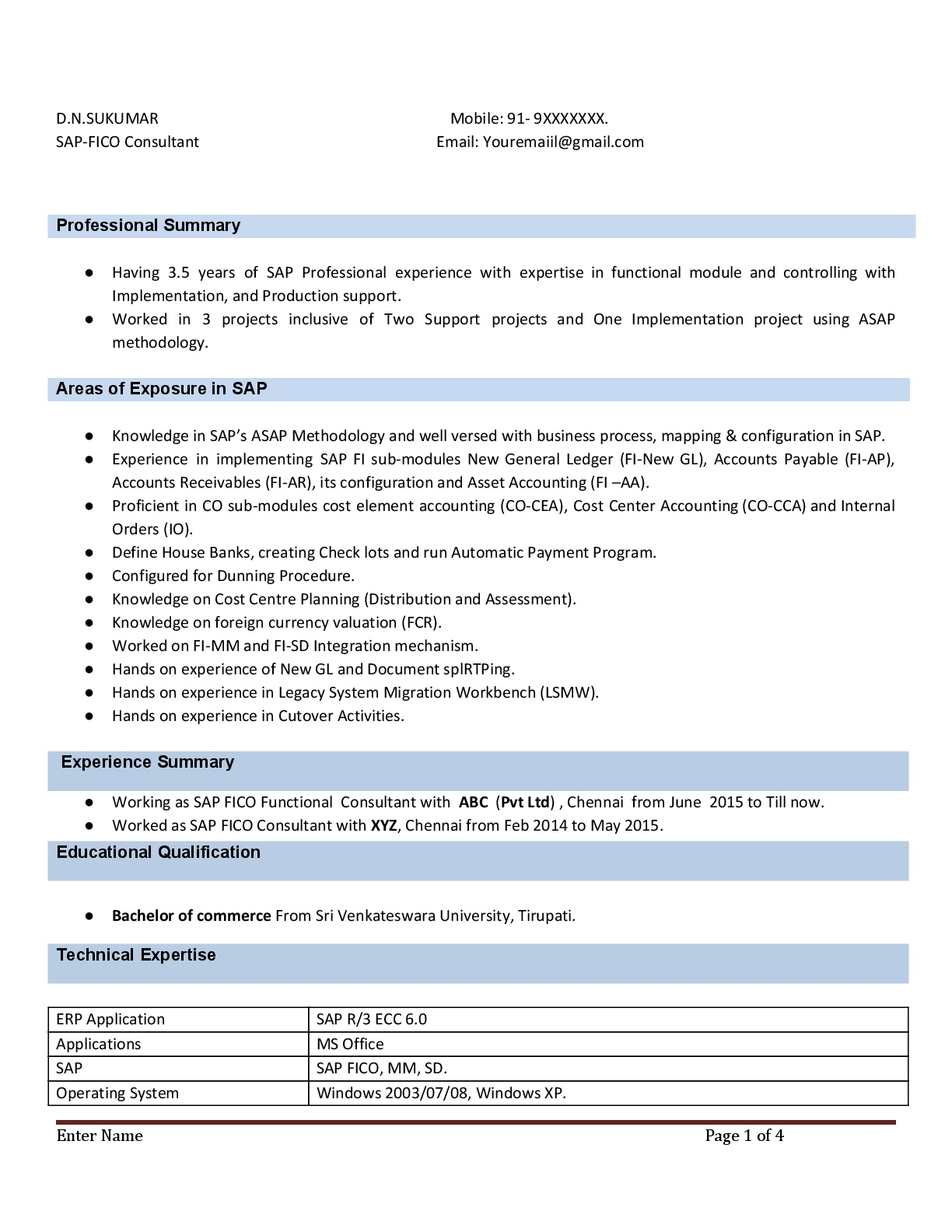 sap fico resume with years experience instant samples projects now consultant 5yrs Resume Sap Fico Consultant Resume 3 Years Experience