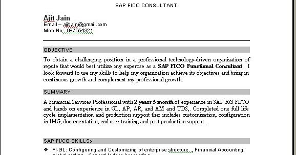 sap fico support consultant resume november sample for years experience professional Resume Sap Fico Consultant Resume 3 Years Experience