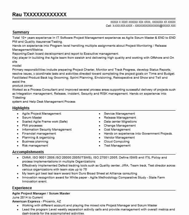 scrum master agile project manager resume example northern trust bank glenview program Resume Agile Program Manager Resume