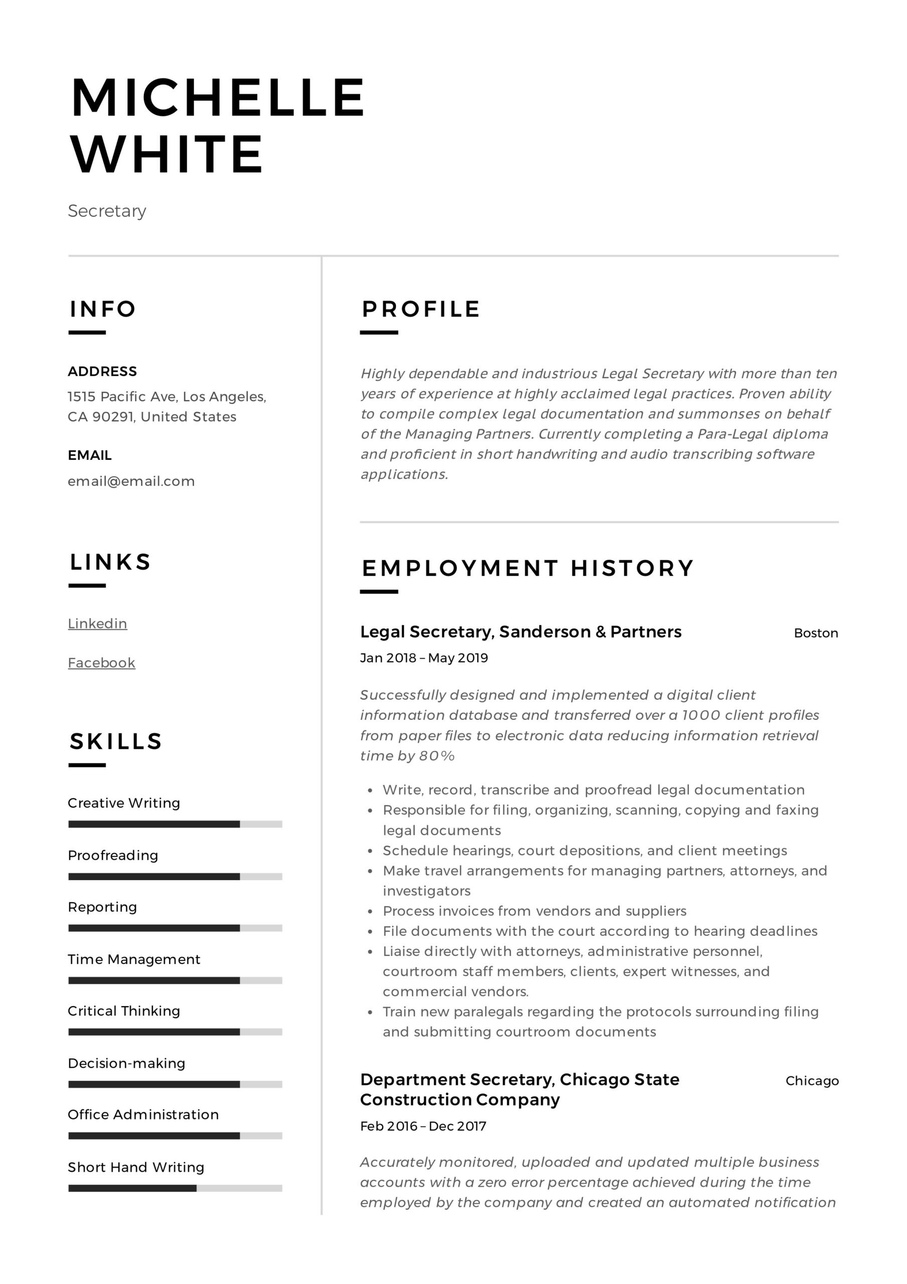secretary resume writing guide template samples pdf duties professional civil engineer Resume Secretary Duties Resume