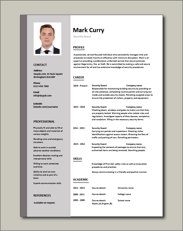 security guard cv sample resume free template building exercises front desk agent Resume Security Guard Resume Sample