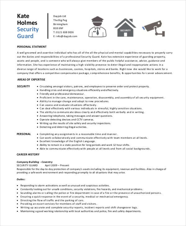 security guard resume free sample example format premium templates hospital clothing nvh Resume Security Guard Resume Sample