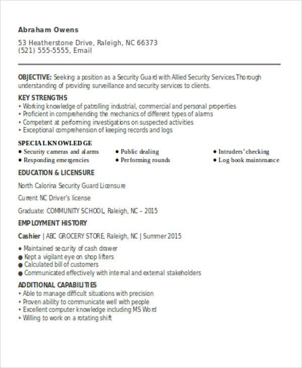 security guard resumes free word pdf format premium templates resume sample for fresher Resume Security Guard Resume Sample