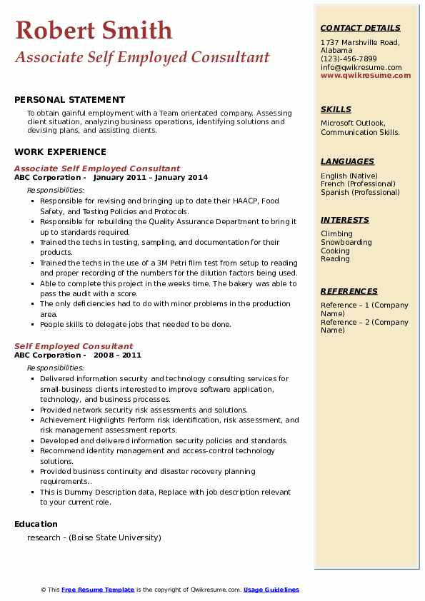 self employed consultant resume samples qwikresume for people pdf entry level healthcare Resume Resume For Self Employed People