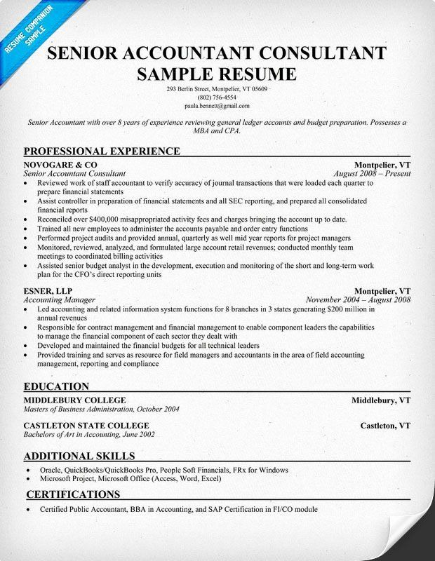 senior accountant resume sample new consultant samples across all industries examples Resume Senior Accountant Resume Objective Examples