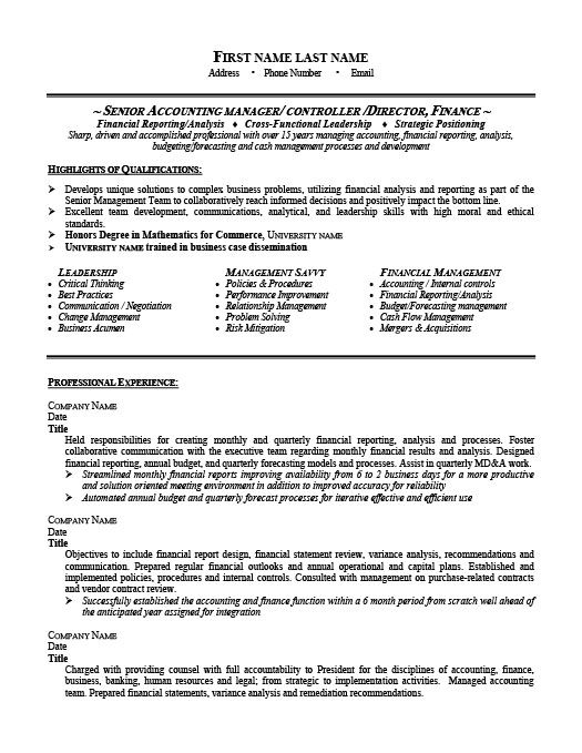 senior accounting manager resume template premium samples example accountant examples Resume Accounts Manager Resume Format