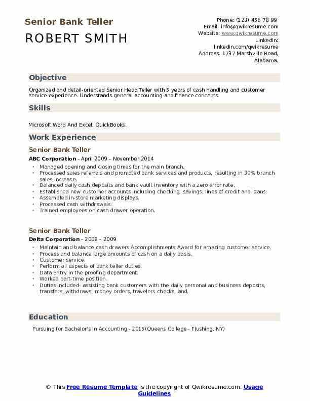 senior bank resume samples qwikresume sample with experience pdf raw affordable service Resume Bank Teller Resume Sample With Experience