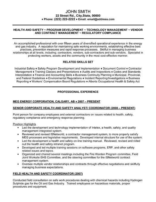 senior health and safety analyst resume template premium samples example job examples Resume Federal Contractor Resume