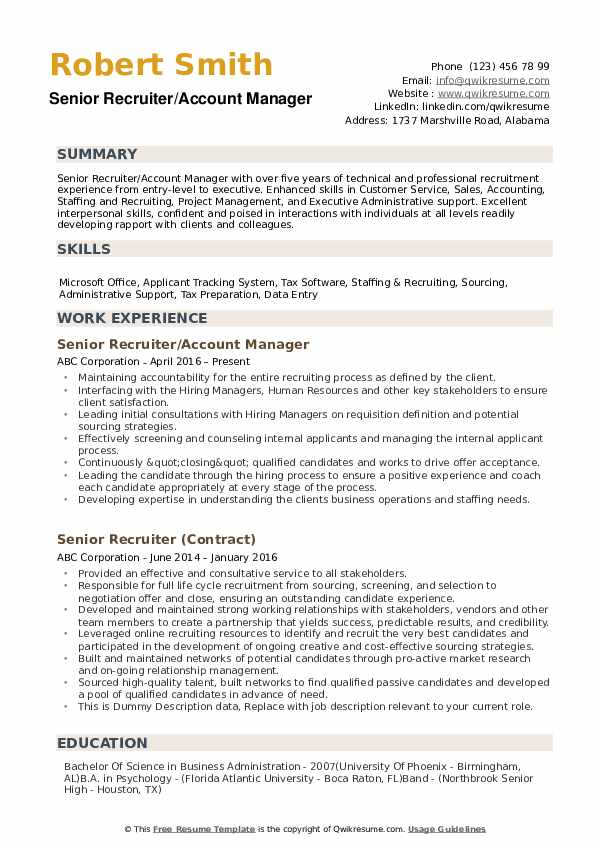 senior recruiter resume samples qwikresume college objective examples pdf and cover Resume College Recruiter Resume Objective Examples