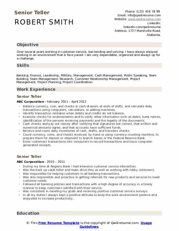 senior resume samples qwikresume bank sample with experience pdf extractor office manager Resume Bank Teller Resume Sample With Experience