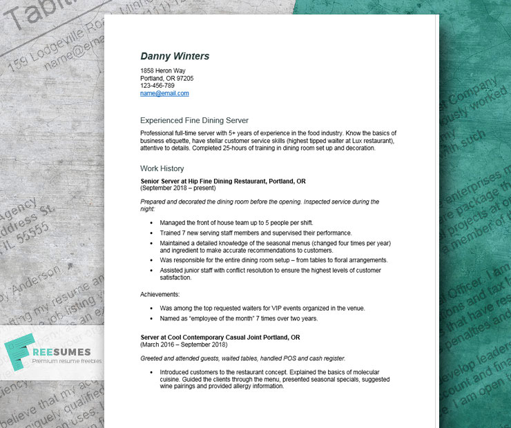 server resume example tips and tricks for writing the best freesumes fine dining examples Resume Fine Dining Resume Examples