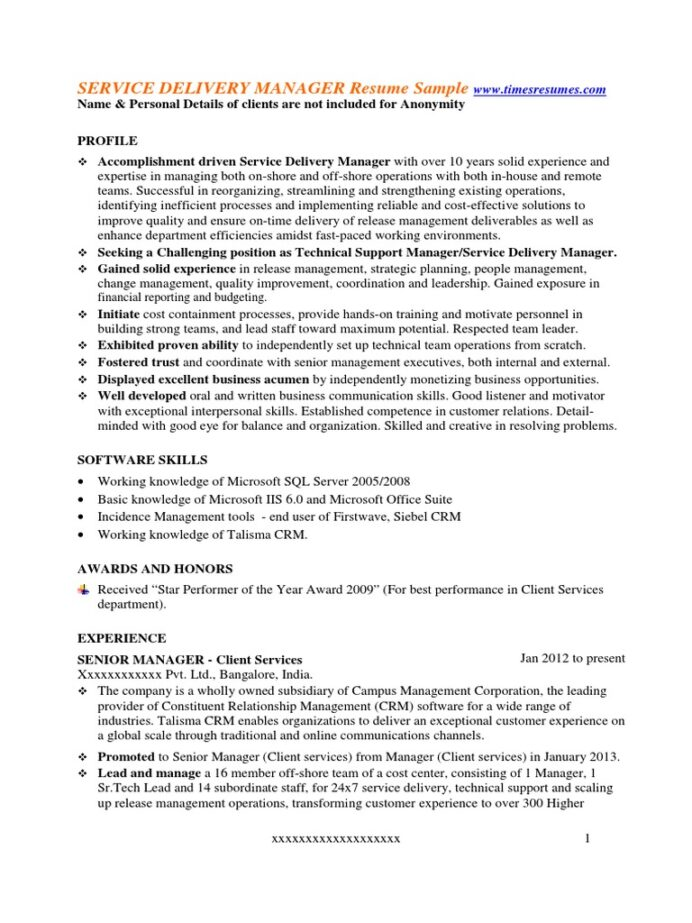 service delivery manager resume sample customer relationship management technical support Resume Sap Delivery Manager Resume