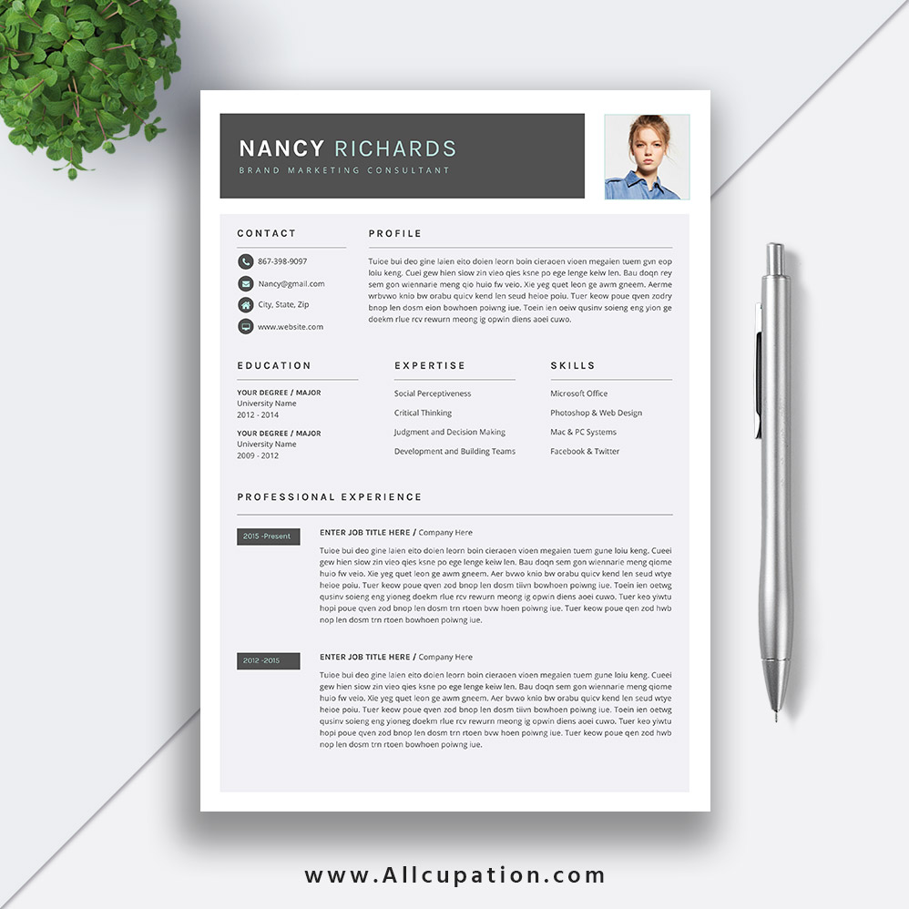 simple and professional resume template word cv cover letter modern teacher instant nancy Resume Professional Resume Cv Template