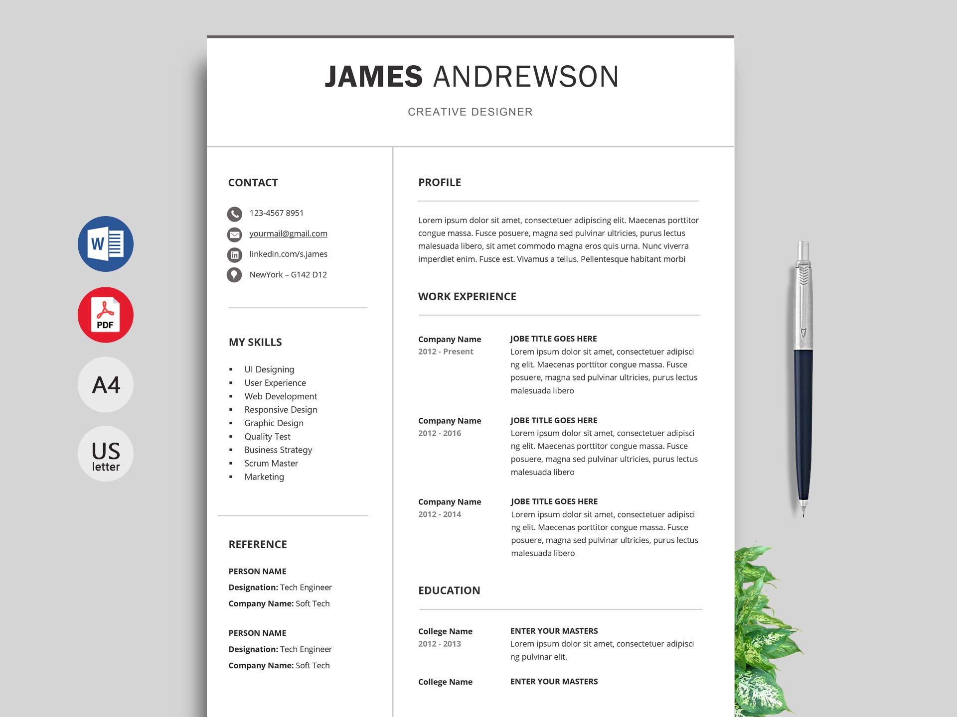 simple resume format cv template free professional adapt examples sample for web Resume Professional Resume Cv Template