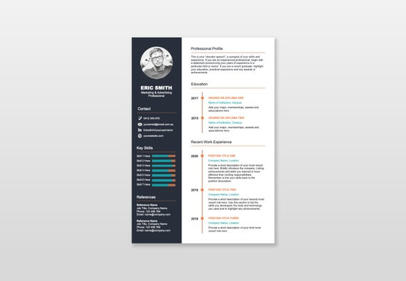 simple timeline resume cv template one etsy student il 570xn 8g0g kitchen utility worker Resume One Page Student Resume