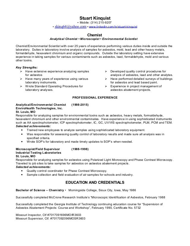 sk resume environmental chemist chemical project engineer facility operations manager Resume Environmental Chemist Resume