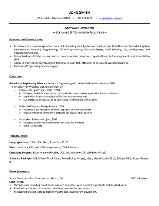 software developer resume sample template engineering templates it student office Resume Software Engineering Resume Templates