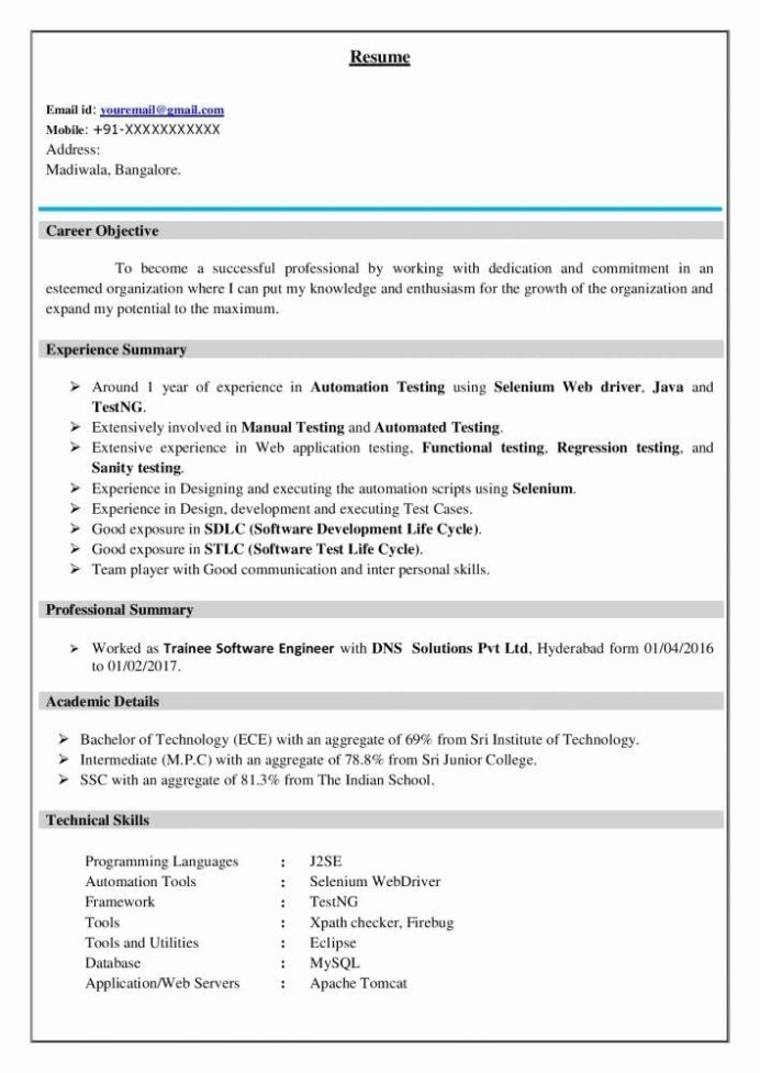software tester resume sample unique best testing example for freshers objective Resume Professional Resume Checker