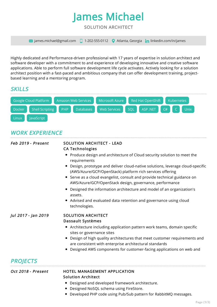 solution architect resume example sample resumekraft aws follow up email after former Resume Aws Solution Architect Resume