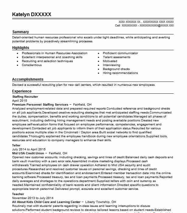 staffing recruiter resume example resumes livecareer college objective examples urology Resume College Recruiter Resume Objective Examples