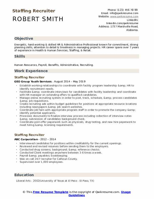 staffing recruiter resume samples qwikresume college objective examples pdf accounting Resume College Recruiter Resume Objective Examples