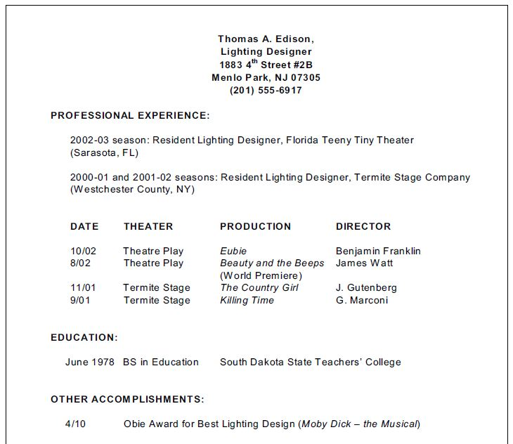 stage lighting for students technical theatre resume template good college skills Resume Technical Theatre Resume Template