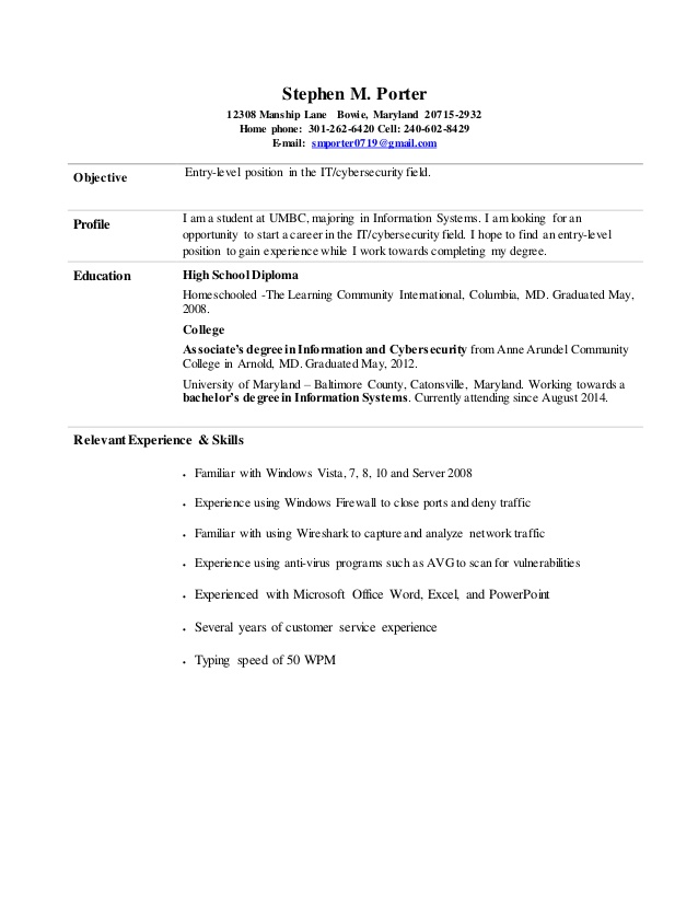 stephen entry level information cyber security resume informationcyber civil engineering Resume Entry Level Cyber Security Resume