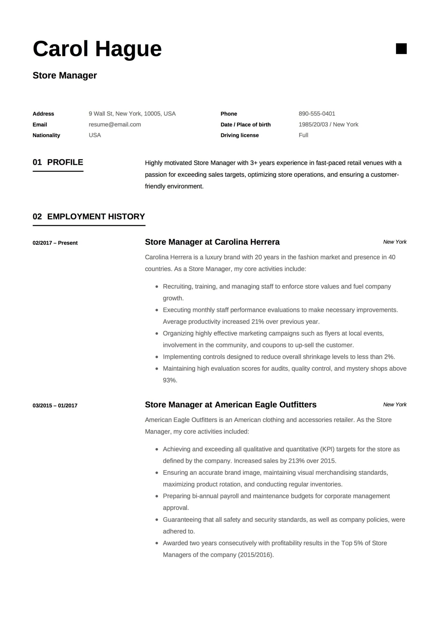 store manager resume guide samples pdf retail responsibilities for carol hague example Resume Retail Manager Responsibilities For Resume