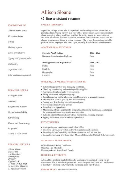student entry level office assistant resume template experience pic le chagrin des Resume Office Experience Resume