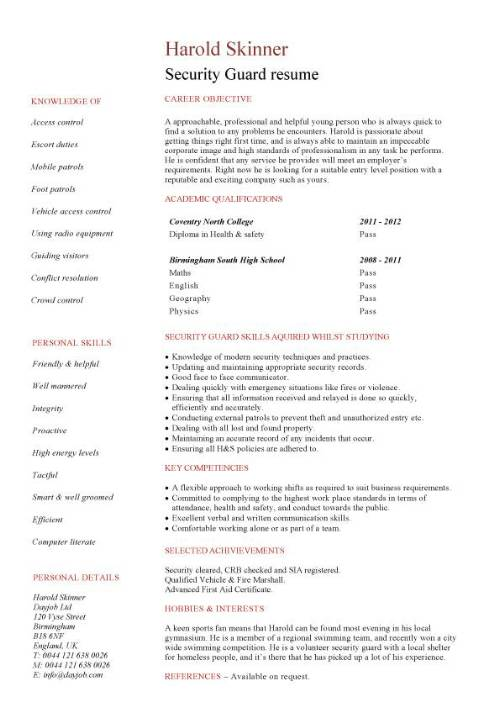 student entry level security guard resume template sample pic front desk agent corporate Resume Security Guard Resume Sample