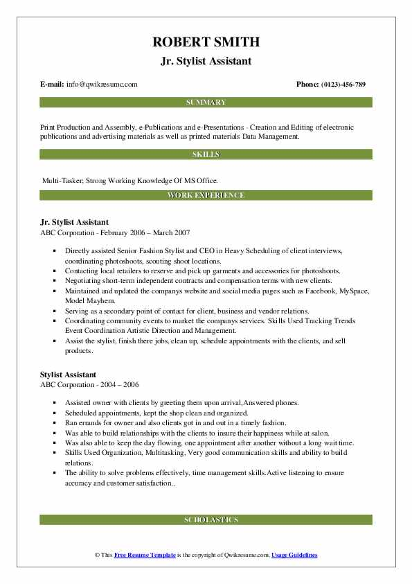 stylist assistant resume samples qwikresume fashion pdf linux consultant excel on writing Resume Fashion Stylist Assistant Resume