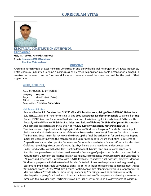 superintendent resumes for printable and downloadable fust electrical resume firoz Resume Electrical Superintendent Resume