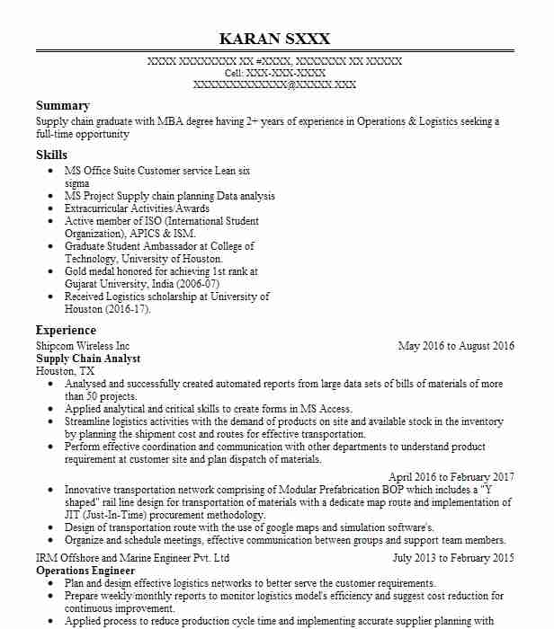 supply chain analyst resume example resumes livecareer keywords finance manager summary Resume Supply Chain Analyst Resume Keywords