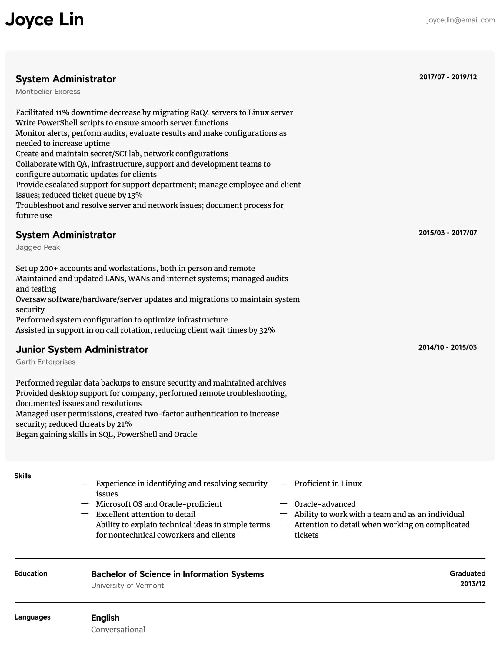 system administrator resume samples all experience levels linux intermediate technical Resume Linux Administrator Resume