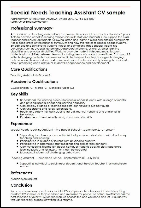teacher aide resume objective unique special needs teaching assistant cv example cover Resume Teacher Assistant Resume Sample
