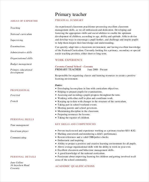 teacher resume sample free word pdf documents premium templates elementary primary data Resume Elementary Resume Templates