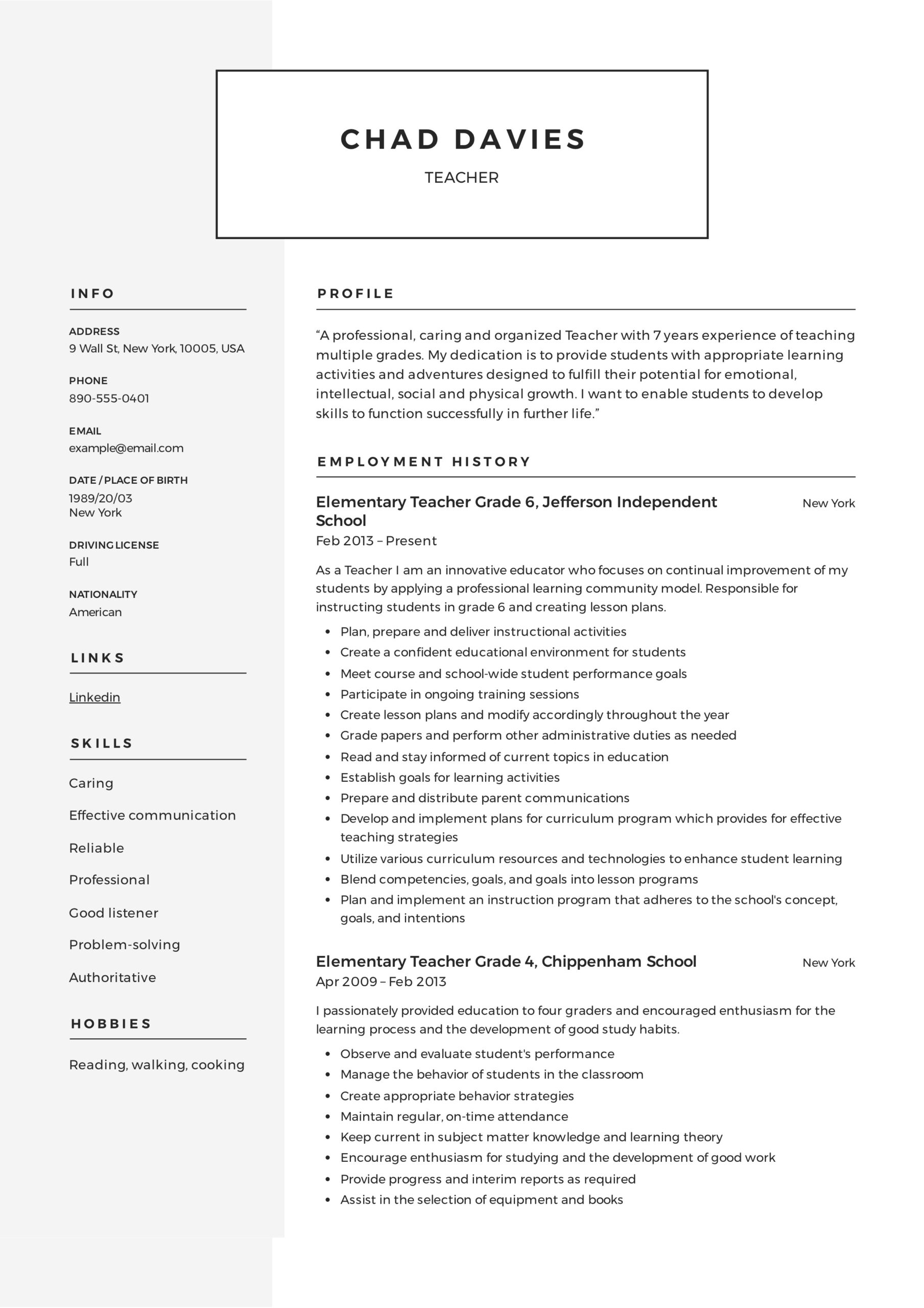 teacher resume writing guide examples pdf elementary templates sample microsoft office Resume Elementary Resume Templates
