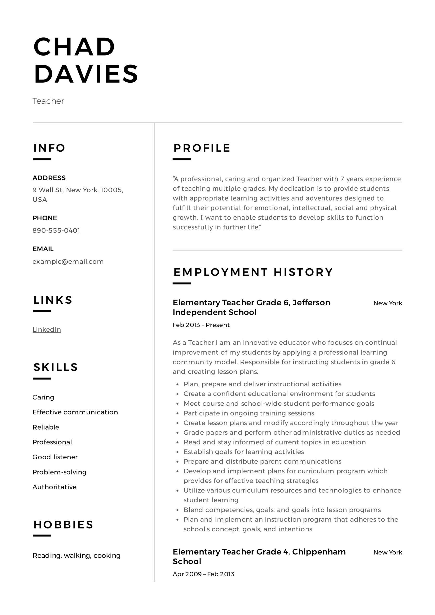 teacher resume writing guide examples pdf elementary templates sample sap fico consultant Resume Elementary Resume Templates