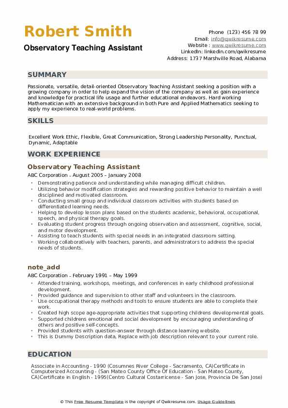 teaching assistant resume samples qwikresume broad experience pdf brief objective for dtp Resume Broad Experience Resume