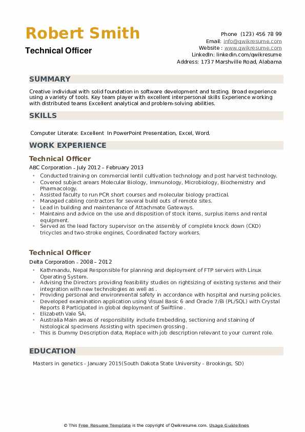 technical officer resume samples qwikresume broad experience pdf brief objective for Resume Broad Experience Resume
