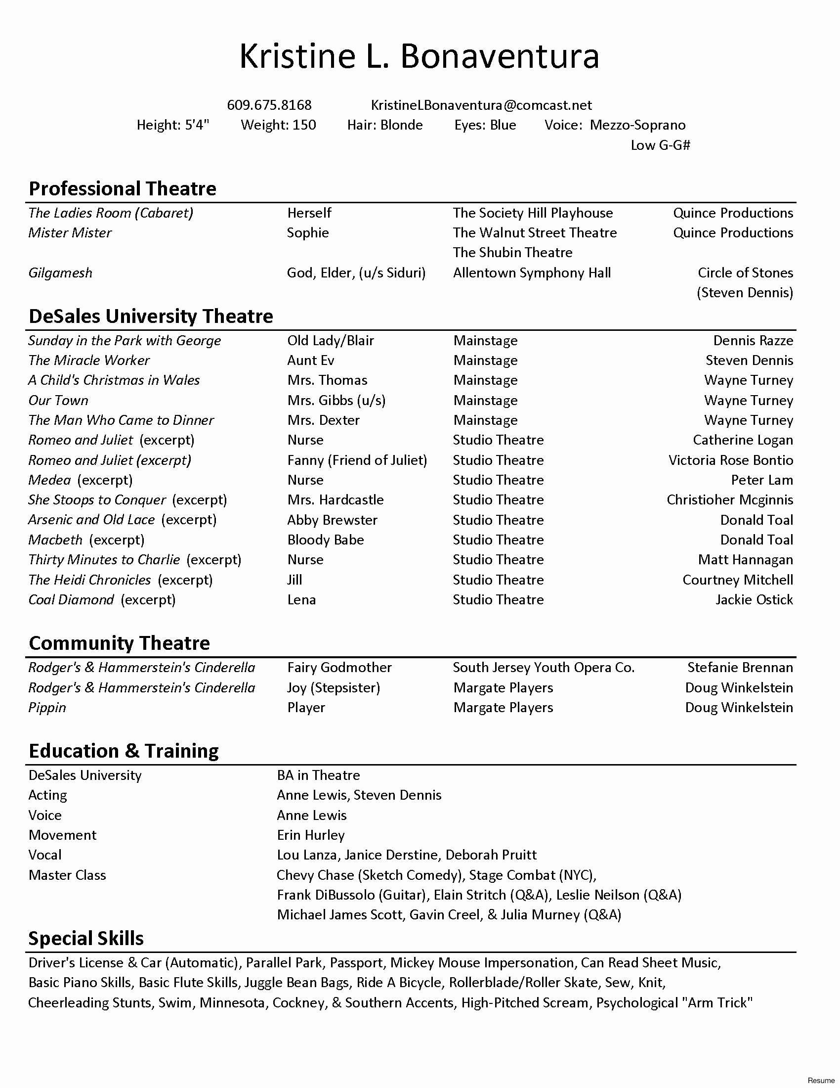 technical theatre resume template inspirational acting legal secretary sample for Resume Technical Theatre Resume Template