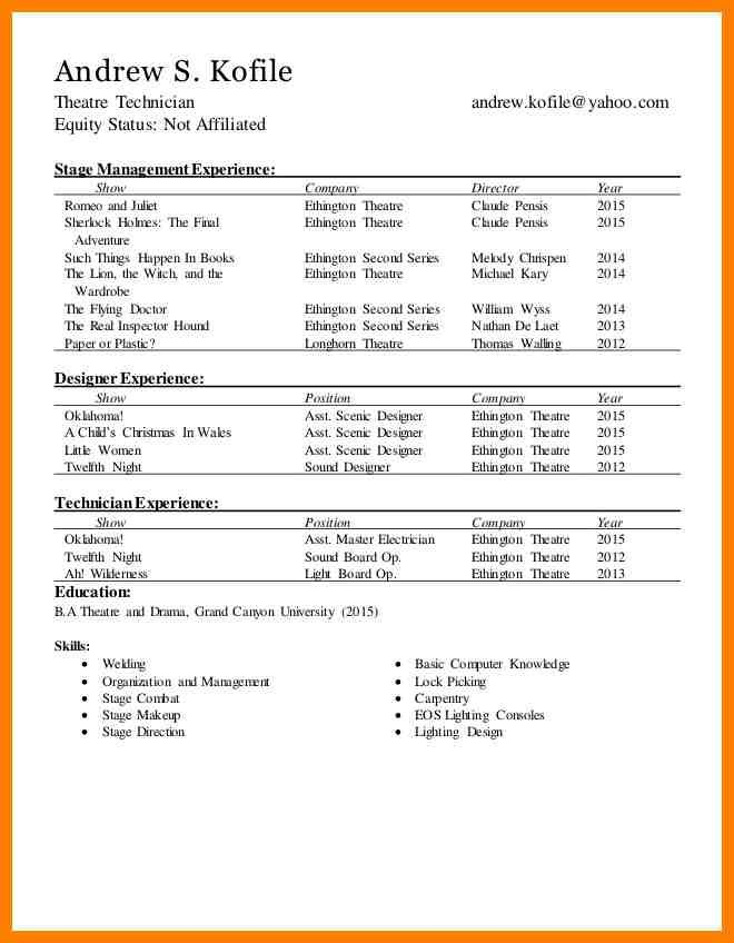 technical theatre resumes resume the rewrite musical template acting design oracle Resume Technical Theatre Resume Template
